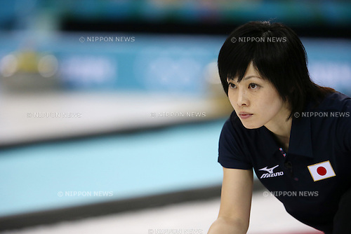 Yumie Funayama (JPN), <br /> FEBRUARY 13, 2014 - Curling : Women's Curling Round Robin match between USA - Japan at &quot;ICE CUBE&quot; Curling Center during the Sochi 2014 Olympic Winter Games in Sochi, Russia.  <br /> (Photo by Koji Aoki/AFLO SPORT)