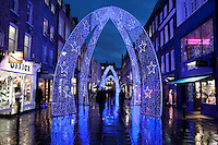 Great Britain, London: Christmas lights along South Molton Street in Mayfair area of London`s West End