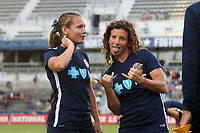 Cary, NC - Saturday April 22, 2017: Elizabeth Eddy, Meredith Speck prior to a regular season National Women's Soccer League (NWSL) match between the North Carolina Courage and the Portland Thorns FC at Sahlen's Stadium at WakeMed Soccer Park.
