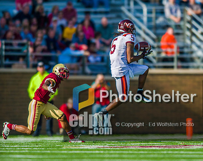 2 November 2013: Virginia Tech Hokies wide receiver Joshua Stanford (5) receives a pass for a first down in the third quarter against the Boston College Eagles at Alumni Stadium in Chestnut Hill, MA. The Eagles defeated the Hokies 34-27. Mandatory Credit: Ed Wolfstein-USA TODAY Sports *** RAW (NEF) Image File Available ***
