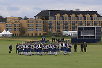 Scottish bag-pipes on the 18th after the Alfred Dunhill Links Championship 2019 at St. Andrews Golf CLub, Fife, Scotland. 29/09/2019.<br /> Picture Thos Caffrey / Golffile.ie<br /> <br /> All photo usage must carry mandatory copyright credit (© Golffile | Thos Caffrey)