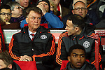 Louis Van Gaal, manager of Manchester United glares at Ryan Giggs during the UEFA Europa League match at Old Trafford. Photo credit should read: Philip Oldham/Sportimage