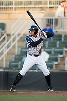 Brandon Dulin (31) of the Kannapolis Intimidators at bat against the Lakewood BlueClaws at Kannapolis Intimidators Stadium on April 7, 2017 in Kannapolis, North Carolina.  The BlueClaws defeated the Intimidators 6-4.  (Brian Westerholt/Four Seam Images)