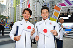 (L-R) Shogo Takeda, Ayatsugu Hirai (JPN), <br /> AUGUST 16, 2018 : Welcome Ceremony for the Japanese delegation at Athlete's Village during the 2018 Jakarta Palembang Asian Games in Jakarta, Indonesia. (Photo by MATSUO.K/AFLO SPORT)