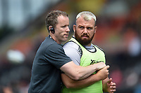 Gareth Denman of Gloucester Rugby with Dan Tobin during the pre-match warm-up. Gallagher Premiership Semi Final, between Saracens and Gloucester Rugby on May 25, 2019 at Allianz Park in London, England. Photo by: Patrick Khachfe / JMP