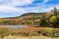 Autumn color on Eagle Lake, Acadia National Park, Maine, USA