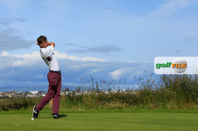 Sean Flanagan (Co. Sligo) on the 4th tee during Round 3 of Matchplay in the North of Ireland Amateur Open Championship at Portrush Golf Club, Portrush on Thursday 14th July 2016.<br /> Picture:  Thos Caffrey / www.golffile.ie
