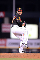 Rochester Red Wings pitcher Pedro Hernandez #47 during a game against the Scranton Wilkes-Barre RailRiders on June 19, 2013 at Frontier Field in Rochester, New York.  Scranton defeated Rochester 10-7.  (Mike Janes/Four Seam Images)