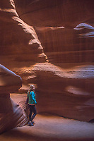 The colorful sandstone walls of Upper Antelope Canyon on the Navajo Tribal Land, Page Arizona