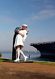 USA, California, San Diego, the USS Midway kissing statue near the San Diego Bay waterfront