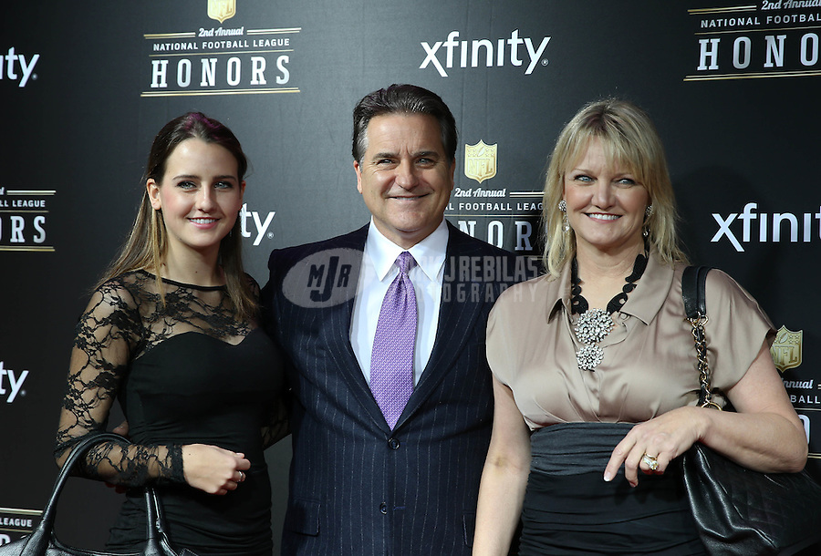 Feb. 2, 2013; New Orleans, LA, USA: NFL former coach Steve Mariucci (center) with wife Gayle Mariucci  (right) and daughter Breille Mariucci on the red carpet prior to the Super Bowl XLVII NFL Honors award show at Mahalia Jackson Theater. Mandatory Credit: Mark J. Rebilas-USA TODAY Sports