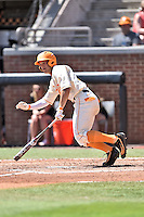 Tennessee Volunteers shortstop Nick Senzel (13) swings at a pitch during a game against the Vanderbilt Commodores at Lindsey Nelson Stadium on April 24, 2016 in Knoxville, Tennessee. The Volunteers defeated the Commodores 5-3. (Tony Farlow/Four Seam Images)
