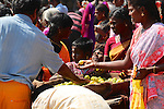 Every full moon, tens of thousands of pilgrims walk barefoot along a 14km path around the holy mountain at Tiruvannamalai. Here women buy limes to offer at the many temples and shrines along the route.  According to Hindus the walk, known as Grivalam, removes sins, and helps achieve freedom from the cycle of birth and rebirth.