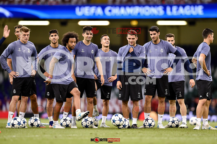 Players of Real Madrid during the training session ahead the UEFA Champions League Final between Real Madrid and Juventus at the National Stadium of Wales, Cardiff, Wales on 2 June 2017. Photo by Giuseppe Maffia<br /> Giuseppe Maffia/UK Sports Pics Ltd/Alterphotos /NortePhoto.com