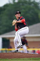 Batavia Muckdogs starting pitcher Ryan Lillie (35) delivers a pitch during a game against the Lowell Spinners on July 12, 2017 at Dwyer Stadium in Batavia, New York.  Batavia defeated Lowell 7-2.  (Mike Janes/Four Seam Images)