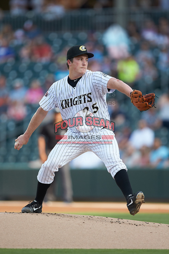 Charlotte Knights starting pitcher Jordan Stephens (25) in action against the Indianapolis Indians at BB&T BallPark on May 26, 2018 in Charlotte, North Carolina. The Indians defeated the Knights 6-2.  (Brian Westerholt/Four Seam Images)