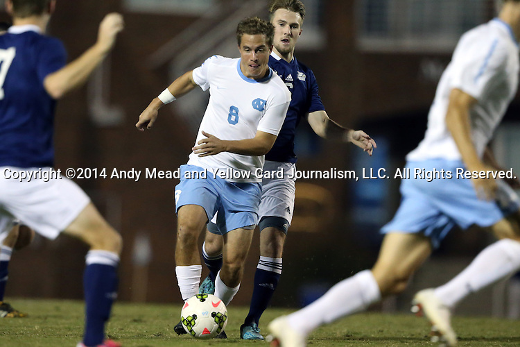 28 October 2014: North Carolina's Tyler Engel (8). The University of North Carolina Tar Heels hosted the Georgia Southern University Eagles at Fetzer Field in Chapel Hill, NC in a 2014 NCAA Division I Men's Soccer match. North Carolina won the game 6-2.