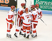 Evan Rodrigues (BU - 17), Wade Megan (BU - 18), Cason Hohmann (BU - 7), Ryan Ruikka (BU - 2), Garrett Noonan (BU - 13) - The Boston University Terriers defeated the visiting Providence College Friars 4-2 (EN) on Saturday, December 13, 2012, at Agganis Arena in Boston, Massachusetts.