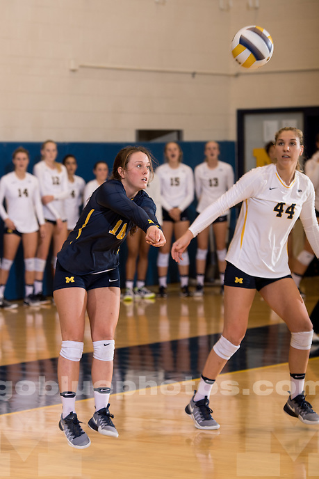 The University of Michigan volleyball team falls to Nebraska, 3-0, at Cliff Keen Arena in Ann Arbor, MI on September 23, 2016.