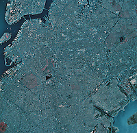 historical infrared aerial photograph of Brooklyn, New York, 1984