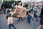 Minehead Hobby Horse Somerset. UK. The Sailors Horse in the streets of Minehead.