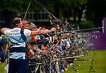 LONDON, ENGLAND - JULY 27:  Larry Godfrey of Great Britain and others compete during the Men's Individual Archery Ranking Round on Olympics Opening Day as part of the London 2012 Olympic Games at the Lord's Cricket Ground on July 27, 2012 in London, England. (Photo by Donald Miralle)