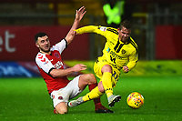Fleetwood Town's Lewis Coyle tangles with Burton Albion's David Templeton<br /> <br /> Photographer Richard Martin-Roberts/CameraSport<br /> <br /> The EFL Sky Bet League One - Saturday 15th December 2018 - Fleetwood Town v Burton Albion - Highbury Stadium - Fleetwood<br /> <br /> World Copyright &not;&copy; 2018 CameraSport. All rights reserved. 43 Linden Ave. Countesthorpe. Leicester. England. LE8 5PG - Tel: +44 (0) 116 277 4147 - admin@camerasport.com - www.camerasport.com