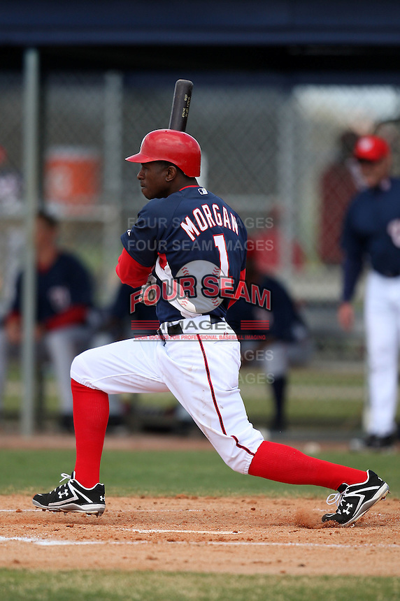 March 22, 2010:  Outfielder Nyger Morgan of the Washington Nationals organization during Spring Training at the Carl Barger Training Complex in Melbourne, FL.  Photo By Mike Janes/Four Seam Images