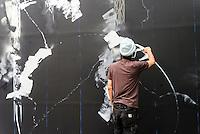 New York, NY 12 September 2015 -  Futura (aka Lenny McGurr, Futura 2000) creates a new piece at the Bowery Mural