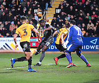 Lincoln City's John Akinde scores his side's second goal<br /> <br /> Photographer Andrew Vaughan/CameraSport<br /> <br /> The EFL Sky Bet League Two - Cambridge United v Lincoln City - Saturday 29th December 2018  - Abbey Stadium - Cambridge<br /> <br /> World Copyright © 2018 CameraSport. All rights reserved. 43 Linden Ave. Countesthorpe. Leicester. England. LE8 5PG - Tel: +44 (0) 116 277 4147 - admin@camerasport.com - www.camerasport.com