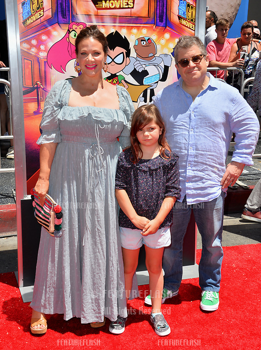 Patton Oswalt, Meredith Salenger &amp; Children at the premiere for &quot;Teen Titans Go! to the Movies&quot; at the TCL Chinese Theatre, Los Angeles, USA 22 July 2018<br /> Picture: Paul Smith/Featureflash/SilverHub 0208 004 5359 sales@silverhubmedia.com