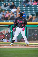 Rey Navarro (13) of the Salt Lake Bees bats against the Iowa Cubs in Pacific Coast League action at Smith's Ballpark on May 13, 2017 in Salt Lake City, Utah. Salt Lake defeated Iowa  5-4. (Stephen Smith/Four Seam Images)