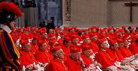 Cardinali nella Basilica di San Pietro per il Concistoro celebrato da Papa Francesco per la creazione di 20 nuovi porporati, Citta' del Vaticano, 14 Febbraio 2015.<br /> Cardinals attend the Consistory celebrated by Pope Francis for the creation of 20 new cardinals, in St. Peter's Basilica, Vatican, 14 February 2015.<br /> UPDATE IMAGES PRESS/Isabella Bonotto<br /> STRICTLY ONLY FOR EDITORIAL USE
