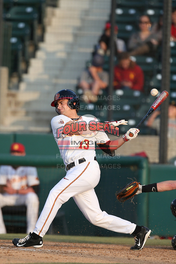 Angelo La Bruna (13) of the Southern California Trojans bats during a game against the Oakland Grizzlies at Dedeaux Field on February 21, 2015 in Los Angeles, California. Southern California defeated Oakland, 11-1. (Larry Goren/Four Seam Images)
