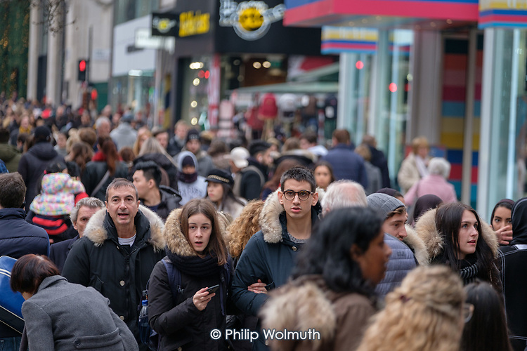 End of year sales, Oxford Street, London.