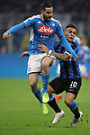 Lautaro Martinez of Inter wrestles with Kostas Manolas of Napoli during the Coppa Italia match at Giuseppe Meazza, Milan. Picture date: 12th February 2020. Picture credit should read: Jonathan Moscrop/Sportimage