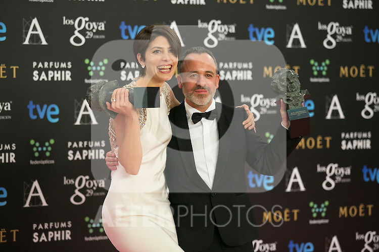 Barbara Lennie and Javier Gutierrez attend the 2015 Goya Award Winners Photocall at Auditorium Hotel, Madrid,  Spain. February 08, 2015.(ALTERPHOTOS/)Carlos Dafonte)