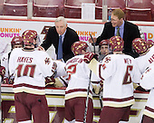 Jimmy Hayes (BC - 10), Jerry York (BC - Head Coach), Brian Dumoulin (BC - 2), Barry Almeida (BC - 9), Greg Brown (BC - Assistant Coach), Patrick Wey (BC - 6) - The Boston College Eagles defeated the University of Massachusetts-Amherst Minutemen 6-5 on Friday, March 12, 2010, in the opening game of their Hockey East Quarterfinal matchup at Conte Forum in Chestnut Hill, Massachusetts.