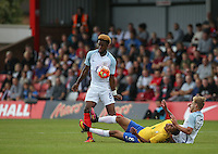 Joshua Onomah (Tottenham Hotspur) of England battles through during the International match between England U20 and Brazil U20 at the Aggborough Stadium, Kidderminster, England on 4 September 2016. Photo by Andy Rowland / PRiME Media Images.