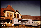 RGS Goose #3 at Ridgway depot about to depart southbound with tourist excursion run.  The hood of Goose #5 is showing at left.<br /> RGS  Ridgway, CO  Taken by Pfeiffer, Jack A. - 9/1/1951