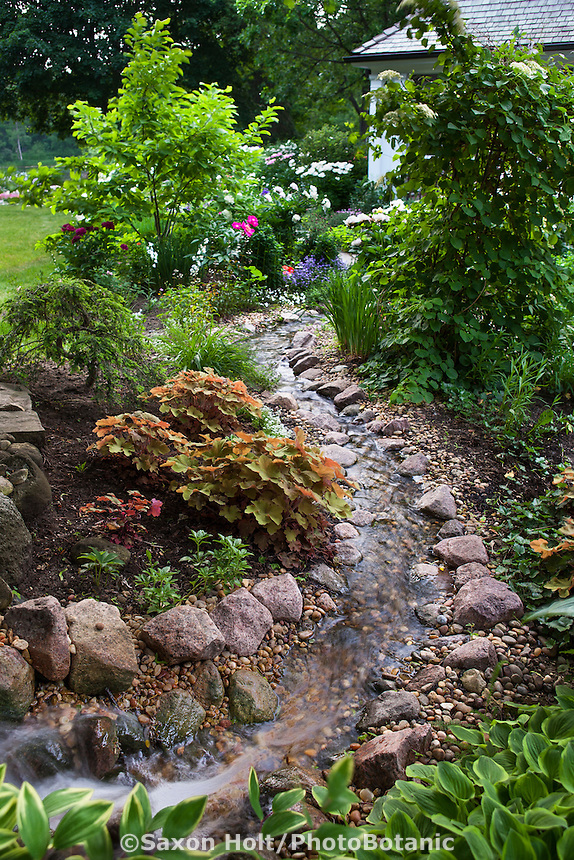Stream running through backyard garden toward home