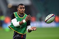 Semesa Rokoduguni of England passes the ball during the pre-match warm-up. Old Mutual Wealth Series International match between England and Australia on November 18, 2017 at Twickenham Stadium in London, England. Photo by: Patrick Khachfe / Onside Images