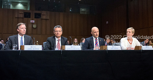 From left to right: Ambassador Nicholas Burns, Roy and Barbara Goodman Family Professor of the Practice of Diplomacy and International Relations, Harvard Kennedy School of Government; Ambassador Vesko Garcevic, Professor of the Practice of Diplomacy and International Relations, Frederick Pardee School of Global Studies, Boston University; Director Janis Sarts, Director of NATO Strategic Communication Center of Excellence; and Dr. Constanze Stelzenmueller, Bosch Senior Fellow<br /> Brookings Institution, testify before the US Senate Select Committee on Intelligence on the Russian intervention in the 2016 Presidential election on Capitol Hill in Washington, DC on Wednesday, June 28, 2017.<br /> Credit: Ron Sachs / CNP