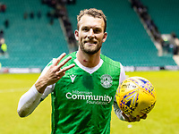 28th January 2020; Easter Road, Edinburgh, Scotland; Scottish Cup replay, Football, Hibernian versus Dundee United; Christian Doidge of Hibernian with match ball after the game after scoring his hat-trick