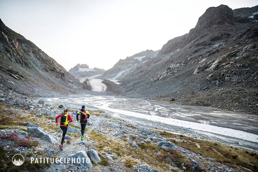 The Chamonix to Zermatt Glacier Haute Route. In late August 2017, we ran the tour in mountain running gear, running shoes, and all the necessary glacier travel and crevasse rescue gear. Entering the Glacier d'Otemma valley.