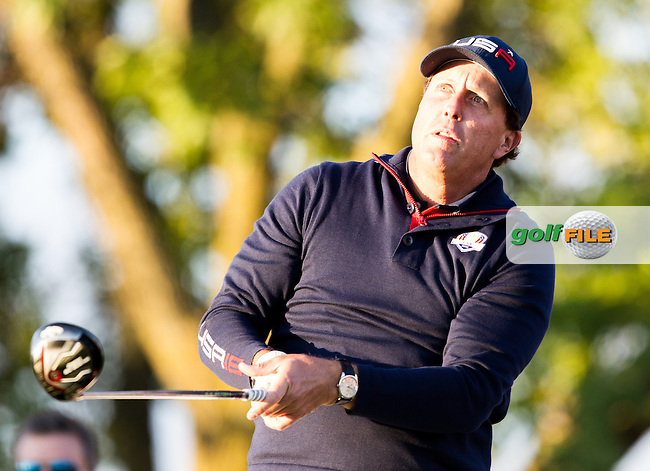 Phil Mickelson (Team USA) on the 2nd tee during the Saturday morning Foursomes at the Ryder Cup, Hazeltine national Golf Club, Chaska, Minnesota, USA.  01/10/2016<br /> Picture: Golffile | Fran Caffrey<br /> <br /> <br /> All photo usage must carry mandatory copyright credit (&copy; Golffile | Fran Caffrey)