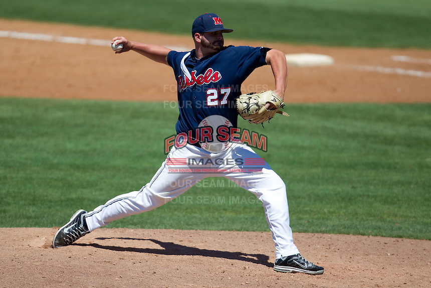 Pitcher RJ Hivley #27 of the Ole Miss Rebels delivers during the NCAA Regional baseball game against the Texas Christian University Horned Frogs on June 1, 2012 at Blue Bell Park in College Station, Texas. Ole Miss defeated TCU 6-2. (Andrew Woolley/Four Seam Images)..