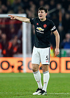 24th November 2019; Bramall Lane, Sheffield, Yorkshire, England; English Premier League Football, Sheffield United versus Manchester United; Harry Maguire of Manchester United gives directions to his defense - Strictly Editorial Use Only. No use with unauthorized audio, video, data, fixture lists, club/league logos or 'live' services. Online in-match use limited to 120 images, no video emulation. No use in betting, games or single club/league/player publications