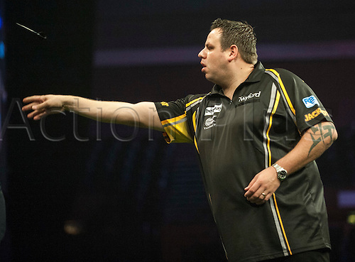 14.05.2015. Brighton, England. Betway Premier League Darts. Matchday 15.Adrian Lewis [ENG] in action during his game with Gary Anderson [SCO].