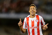 MELBOURNE, AUSTRALIA - MAY 19: David Fuster of Olympiakos celebrates after kicking a goal during the match between Melbourne Victory and Olympiakos FC at Etihad Stadium on 19 May 2012 in Melbourne, Australia. (Photo Sydney Low / AsteriskImages.com)